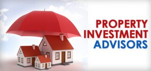 red umbrella over the top of 3 model toy size houses with the message property investment advisors